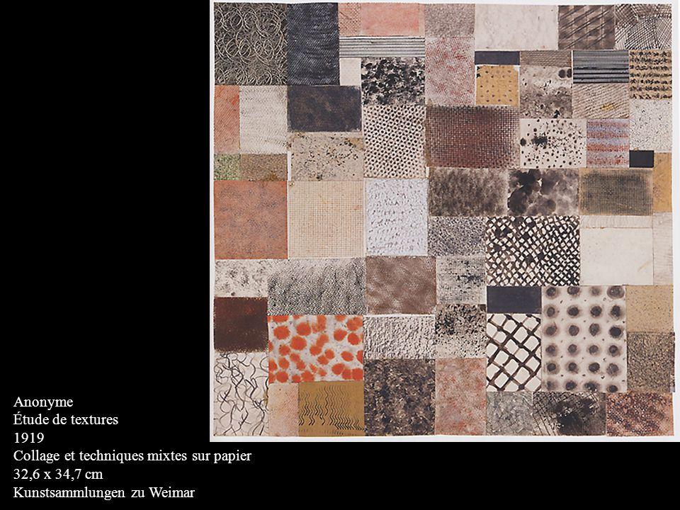 Anonyme Étude de textures 1919 Collage et techniques mixtes sur papier 32,6 x 34,7 cm Kunstsammlungen zu Weimar