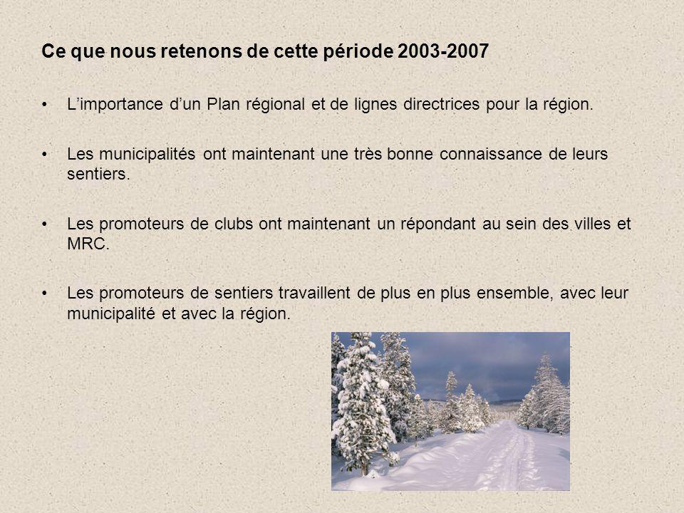 Ce que nous retenons de cette période 2003-2007 •L'importance d'un Plan régional et de lignes directrices pour la région.