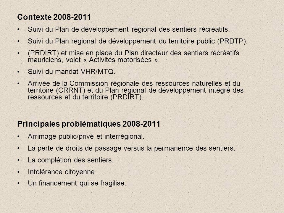 Contexte 2008-2011 •Suivi du Plan de développement régional des sentiers récréatifs.