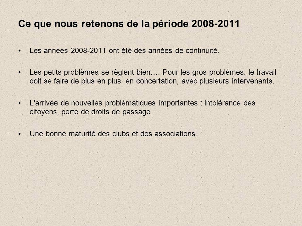 Ce que nous retenons de la période 2008-2011 •Les années 2008-2011 ont été des années de continuité.