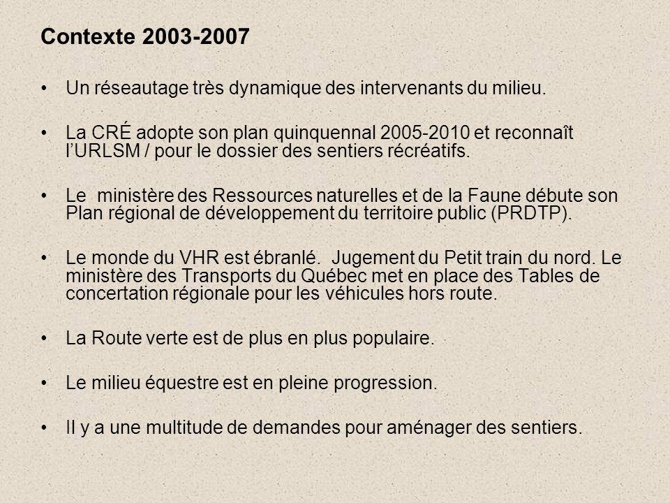 Contexte 2003-2007 •Un réseautage très dynamique des intervenants du milieu.