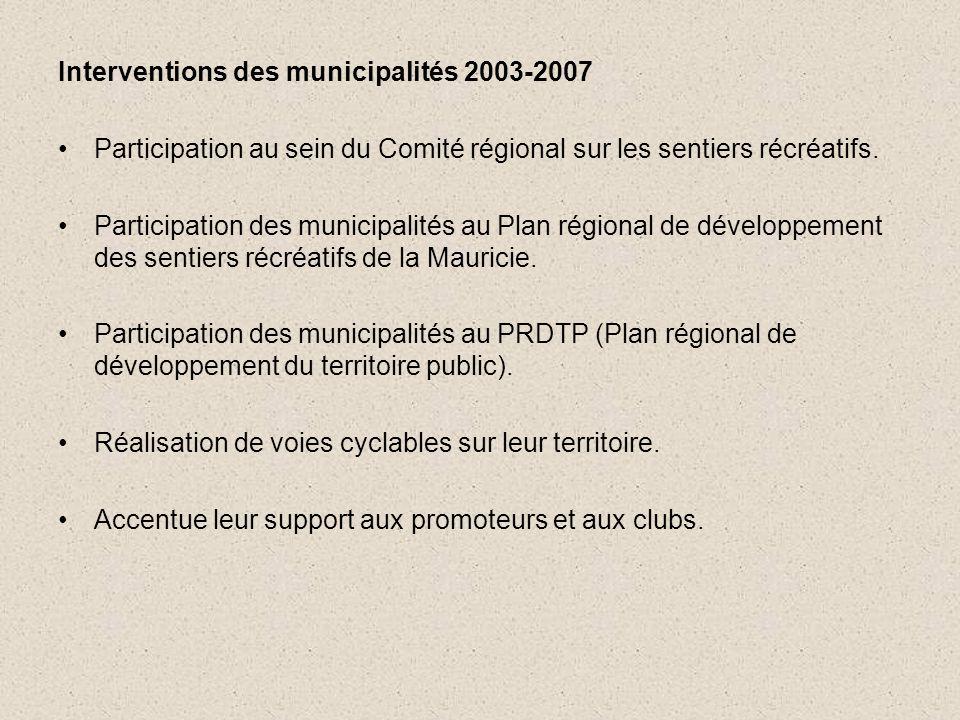 Interventions des municipalités 2003-2007 •Participation au sein du Comité régional sur les sentiers récréatifs.