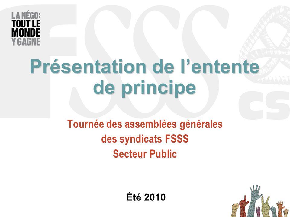 Présentation de l'entente de principe Tournée des assemblées générales des syndicats FSSS Secteur Public Été 2010
