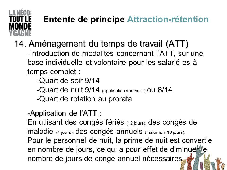 14. Aménagement du temps de travail (ATT) -Introduction de modalités concernant l'ATT, sur une base individuelle et volontaire pour les salarié-es à t