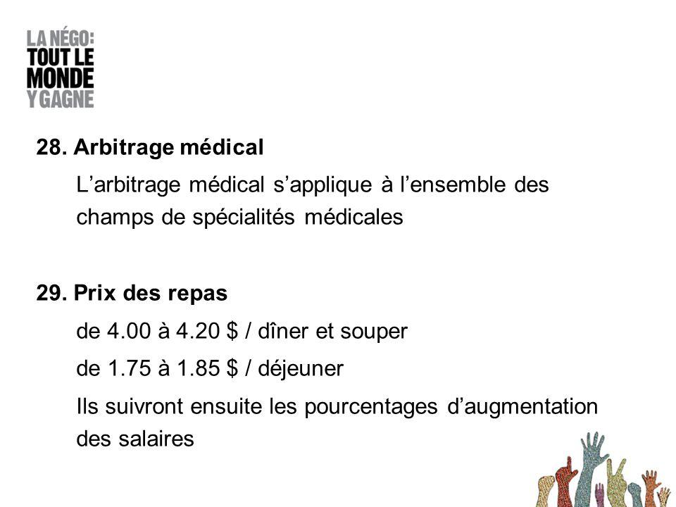 28. Arbitrage médical L'arbitrage médical s'applique à l'ensemble des champs de spécialités médicales 29. Prix des repas de 4.00 à 4.20 $ / dîner et s