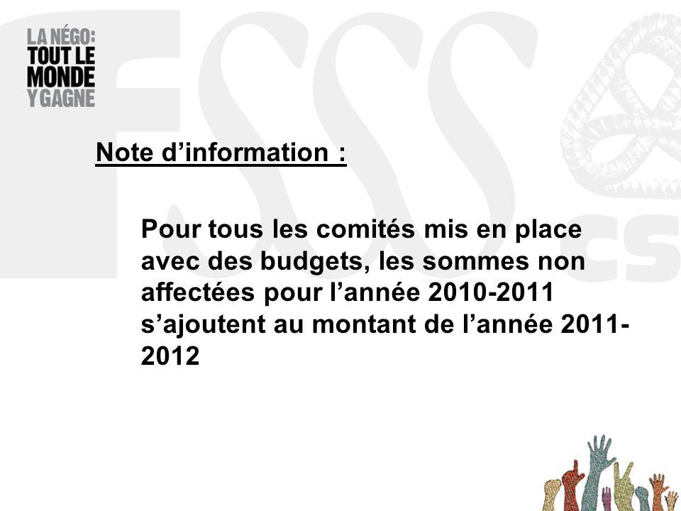Note d'information : Pour tous les comités mis en place avec des budgets, les sommes non affectées pour l'année 2010-2011 s'ajoutent au montant de l'année 2011- 2012