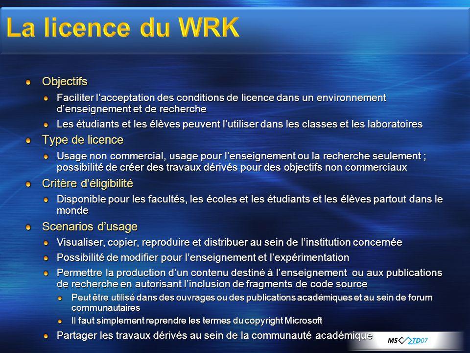 Objectifs Faciliter l'acceptation des conditions de licence dans un environnement d'enseignement et de recherche Les étudiants et les élèves peuvent l