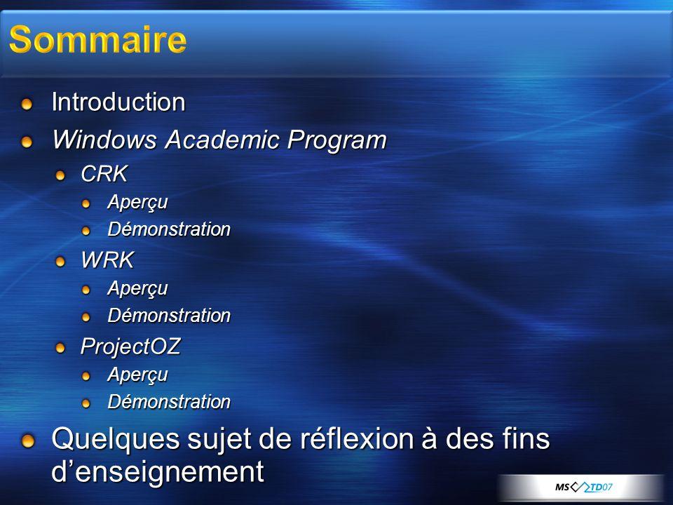 Introduction Windows Academic Program CRKAperçuDémonstrationWRKAperçuDémonstrationProjectOZAperçuDémonstration Quelques sujet de réflexion à des fins