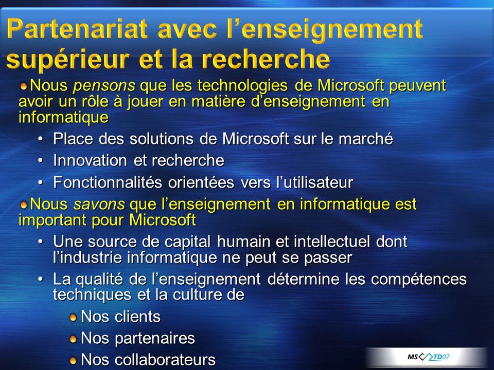 Nous pensons que les technologies de Microsoft peuvent avoir un rôle à jouer en matière d'enseignement en informatique •Place des solutions de Microso