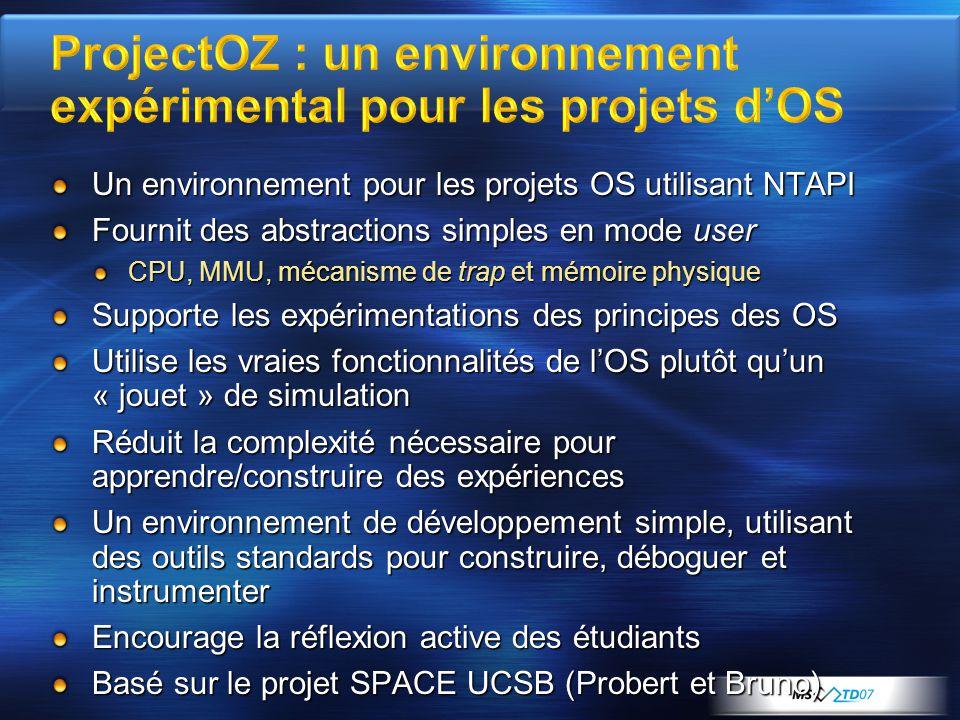 Un environnement pour les projets OS utilisant NTAPI Fournit des abstractions simples en mode user CPU, MMU, mécanisme de trap et mémoire physique Sup