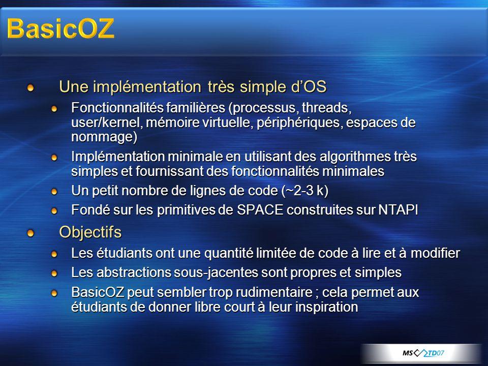 Une implémentation très simple d'OS Une implémentation très simple d'OS Fonctionnalités familières (processus, threads, user/kernel, mémoire virtuelle