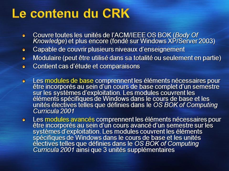 Couvre toutes les unités de l'ACM/IEEE OS BOK (Body Of Knowledge) et plus encore (fondé sur Windows XP/Server 2003) Capable de couvrir plusieurs nivea