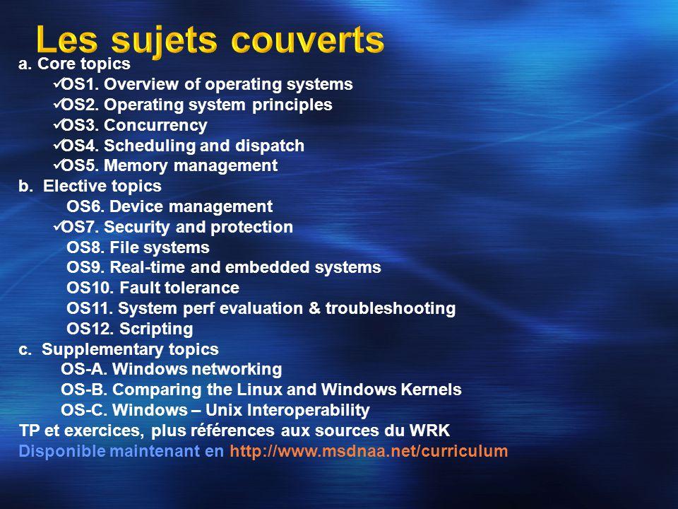 Les débogueurs WinDBG/KD fonctionnent avec le WRK La documentation est assez complète et comprend les informations nécessaires pour savoir comment déboguer à travers un port série, localement (en examinant les données du noyau depuis le mode user) ainsi que pour déboguer des noyaux à travers Virtual PC Les versions 6.6.3.5 des débogueurs WinDBG/KD sont disponibles avec les Curriculum Resource Kit Tools Répertoire CurriculumResourceKit-CRK\CRKTools\Debugging Tools La dernière version des Windows Debugging Tools peut être téléchargée depuis http://www.microsoft.com/whdc/devtools/debugging.
