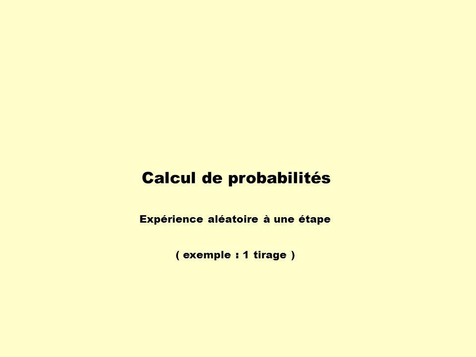 Calcul de probabilités Expérience aléatoire à une étape ( exemple : 1 tirage )