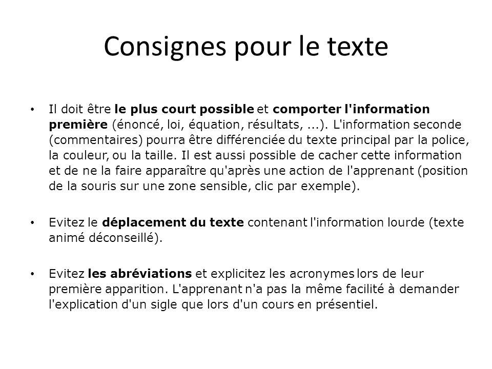 Consignes pour le texte • Il doit être le plus court possible et comporter l'information première (énoncé, loi, équation, résultats,...). L'informatio