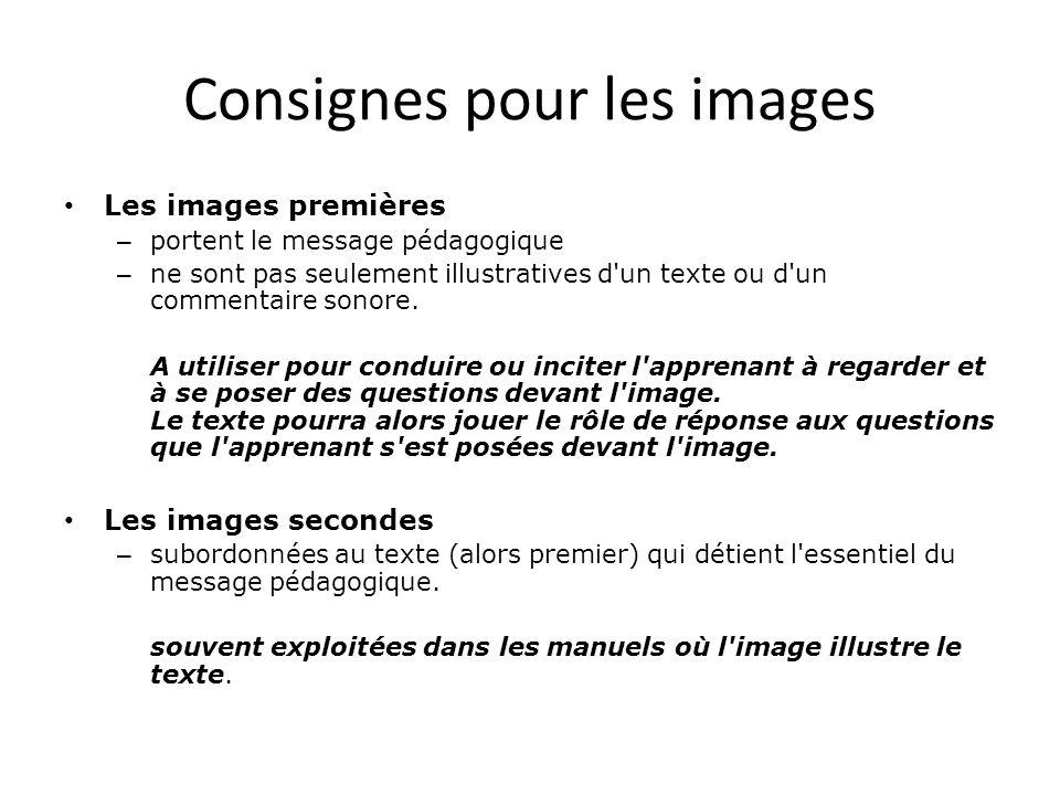 Consignes pour les images • Les images premières – portent le message pédagogique – ne sont pas seulement illustratives d'un texte ou d'un commentaire