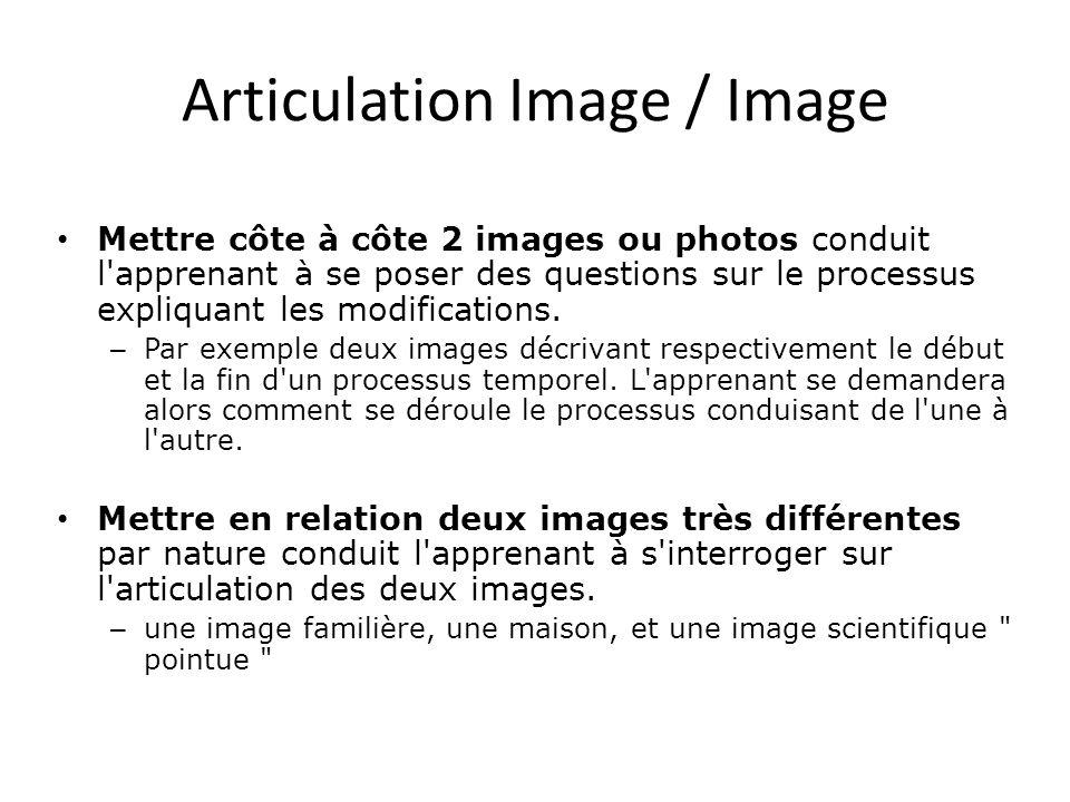 Articulation Image / Image • Mettre côte à côte 2 images ou photos conduit l'apprenant à se poser des questions sur le processus expliquant les modifi