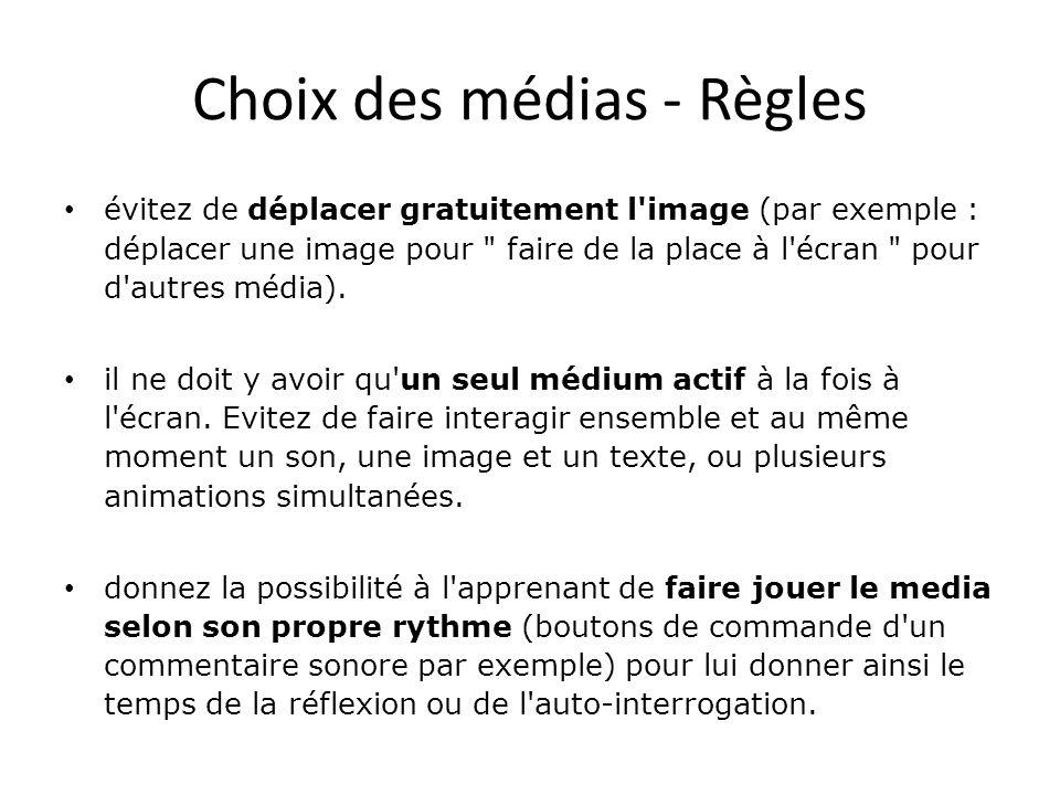 Choix des médias - Règles • il ne doit pas y avoir d écrans surchargés.