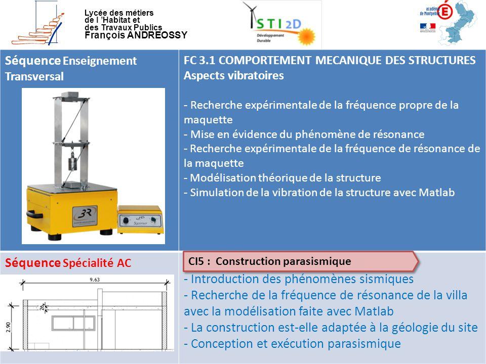 Lycée des métiers de l 'Habitat et des Travaux Publics François ANDREOSSY Séquence Enseignement Transversal FC 3.1 COMPORTEMENT MECANIQUE DES STRUCTUR