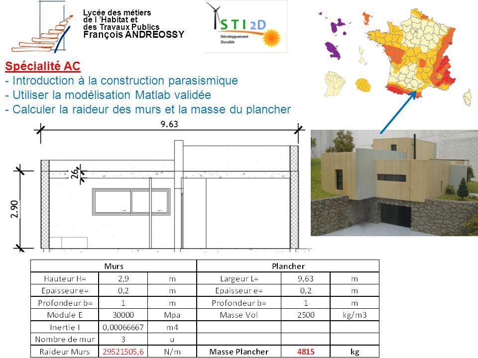 Lycée des métiers de l 'Habitat et des Travaux Publics François ANDREOSSY Spécialité AC - Introduction à la construction parasismique - Utiliser la mo