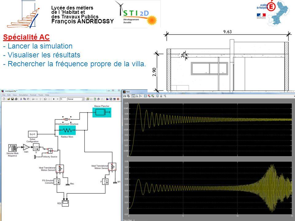 Lycée des métiers de l 'Habitat et des Travaux Publics François ANDREOSSY Spécialité AC - Lancer la simulation - Visualiser les résultats - Rechercher