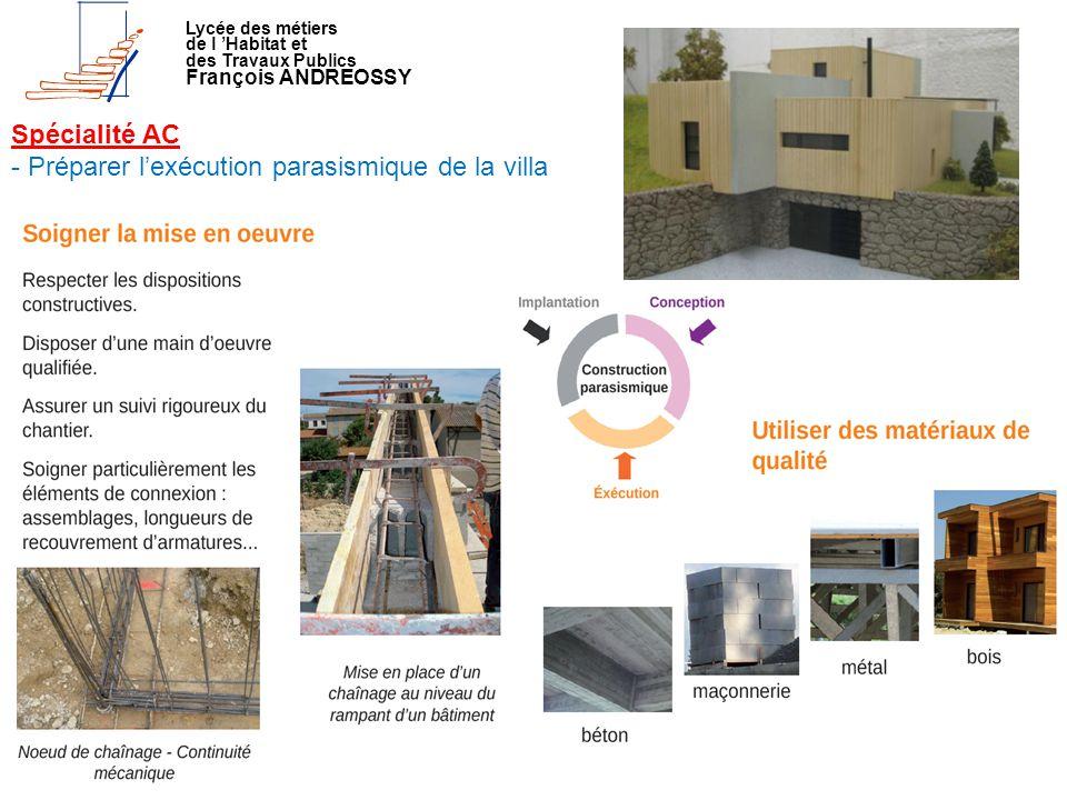 Lycée des métiers de l 'Habitat et des Travaux Publics François ANDREOSSY Spécialité AC - Préparer l'exécution parasismique de la villa