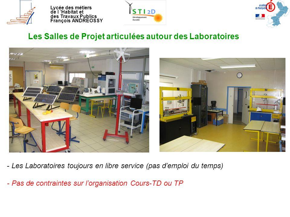 Lycée des métiers de l 'Habitat et des Travaux Publics François ANDREOSSY Les Salles de Projet articulées autour des Laboratoires - Les Laboratoires t