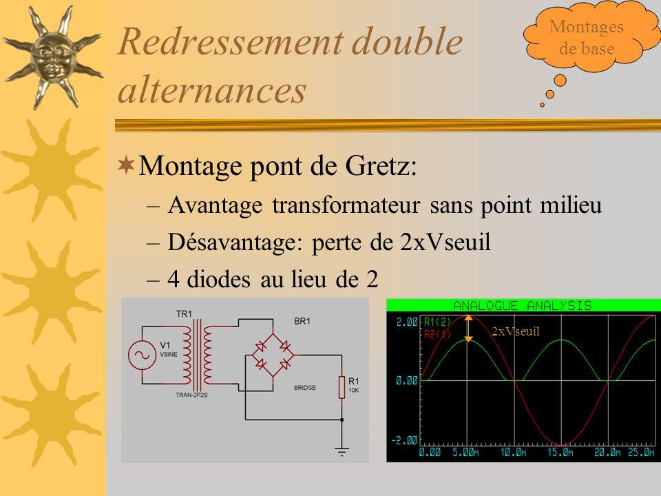 Redressement double alternances  Montage pont de Gretz: –Avantage transformateur sans point milieu –Désavantage: perte de 2xVseuil –4 diodes au lieu