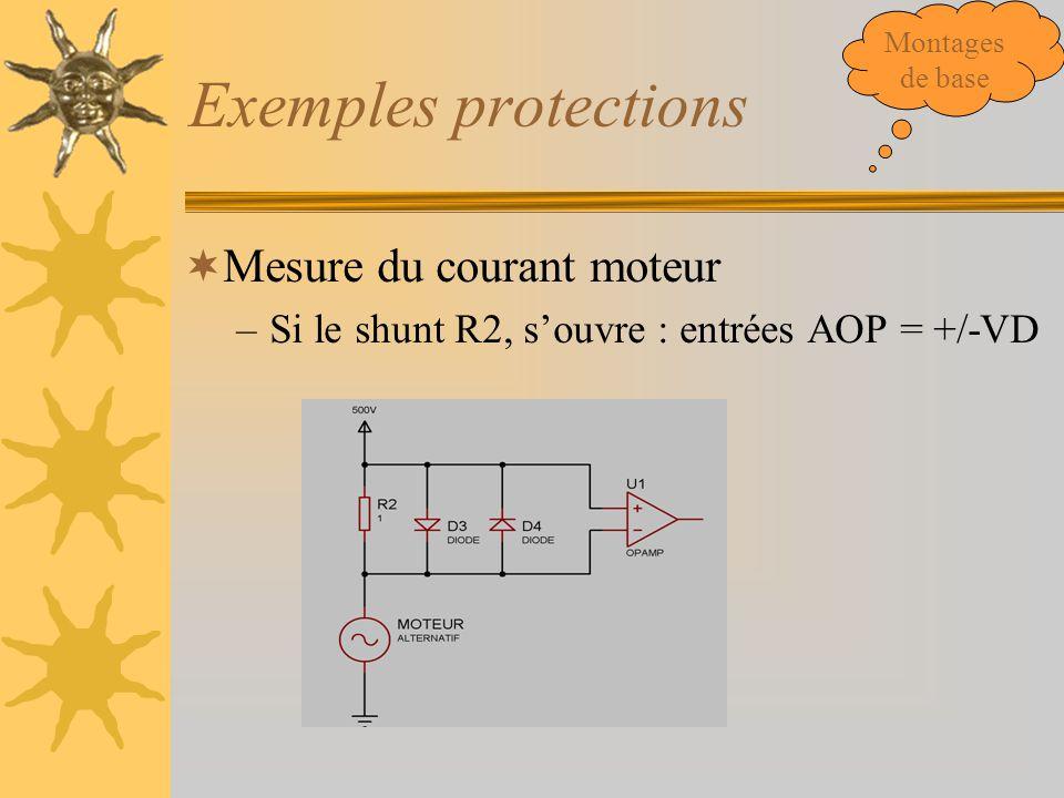 Exemples protections  Mesure du courant moteur –Si le shunt R2, s'ouvre : entrées AOP = +/-VD Montages de base