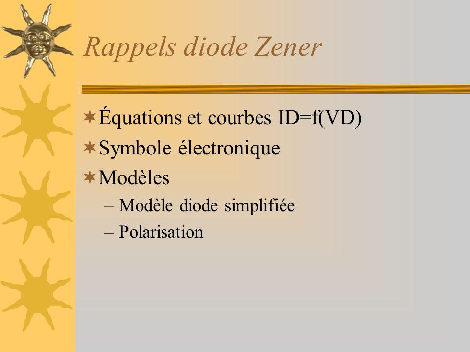 Rappels diode Zener  Équations et courbes ID=f(VD)  Symbole électronique  Modèles –Modèle diode simplifiée –Polarisation