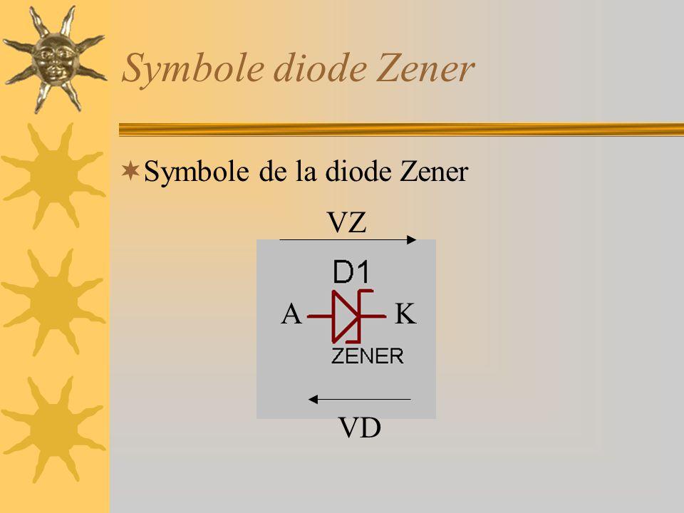 Symbole diode Zener  Symbole de la diode Zener AK VD VZ
