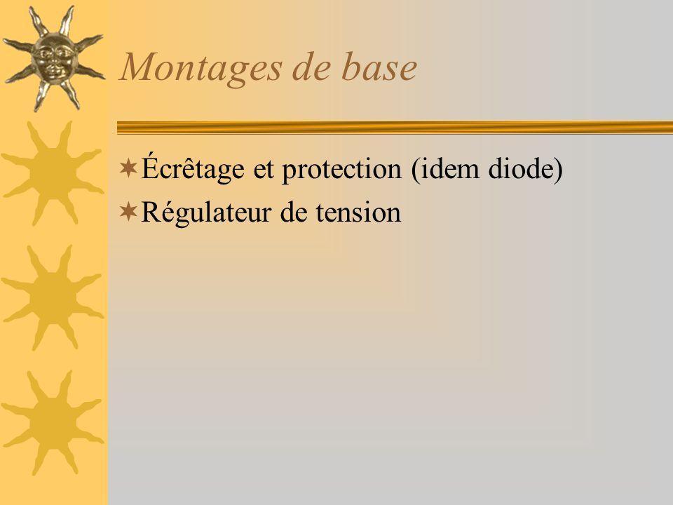 Montages de base  Écrêtage et protection (idem diode)  Régulateur de tension