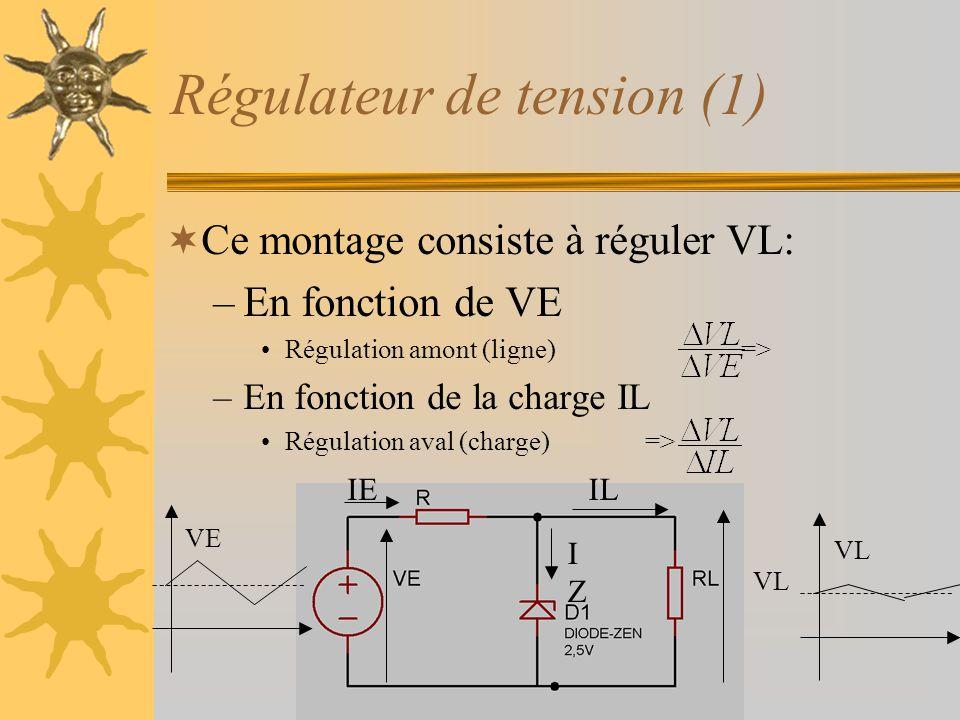 Régulateur de tension (1)  Ce montage consiste à réguler VL: –En fonction de VE •Régulation amont (ligne) => –En fonction de la charge IL •Régulation