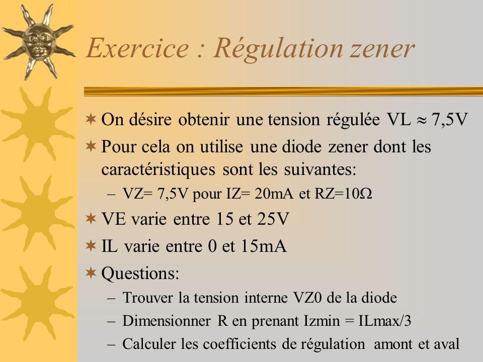 Exercice : Régulation zener  On désire obtenir une tension régulée VL  7,5V  Pour cela on utilise une diode zener dont les caractéristiques sont le