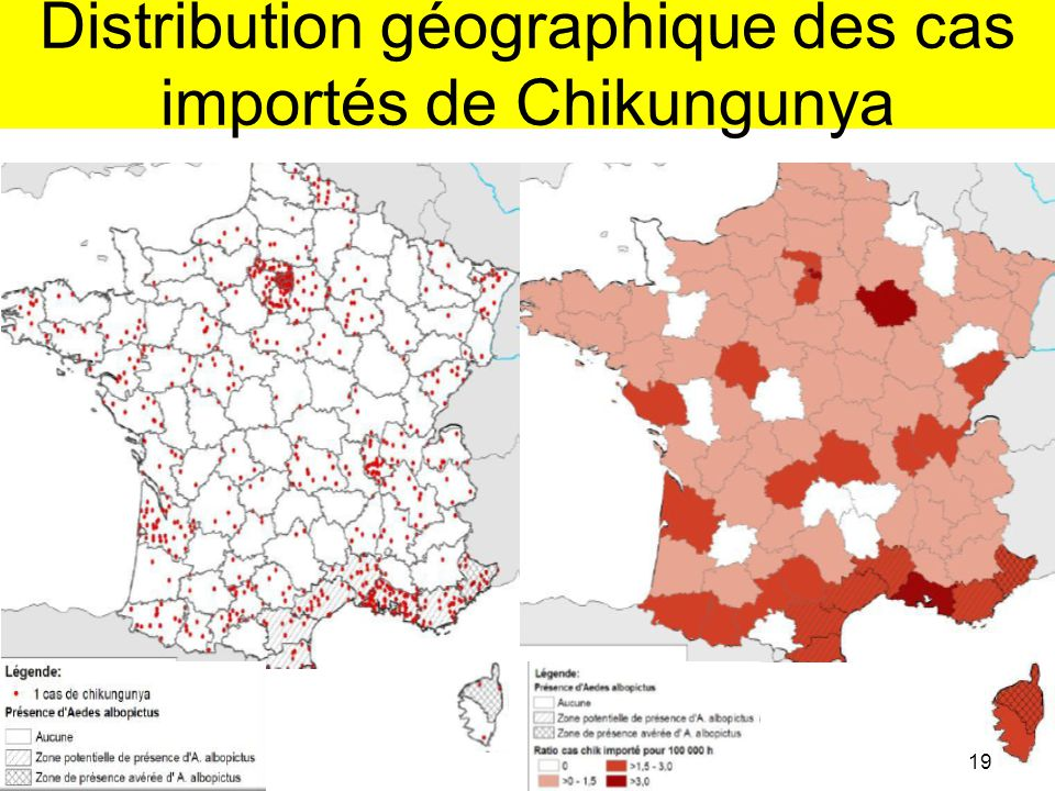 Distribution géographique des cas importés de Chikungunya 19