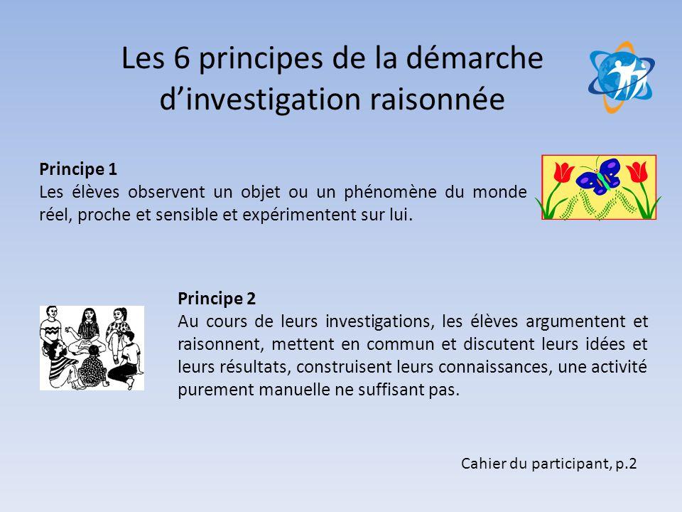 Les 6 principes de la démarche d'investigation raisonnée Cahier du participant, p.2 Principe 1 Les élèves observent un objet ou un phénomène du monde