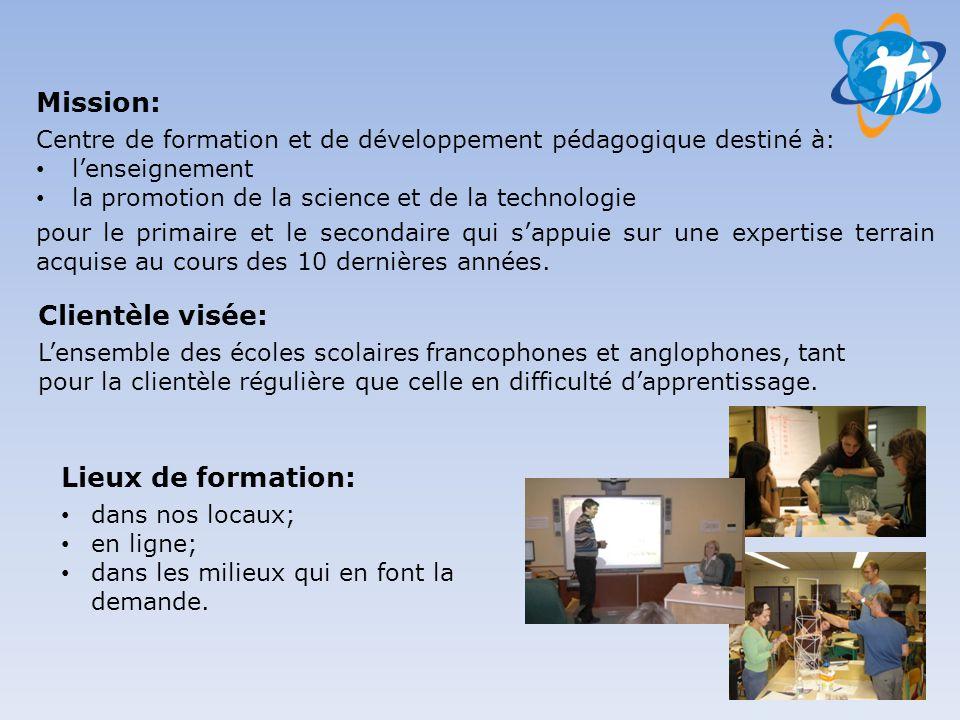 Mission: Centre de formation et de développement pédagogique destiné à: • l'enseignement • la promotion de la science et de la technologie pour le pri