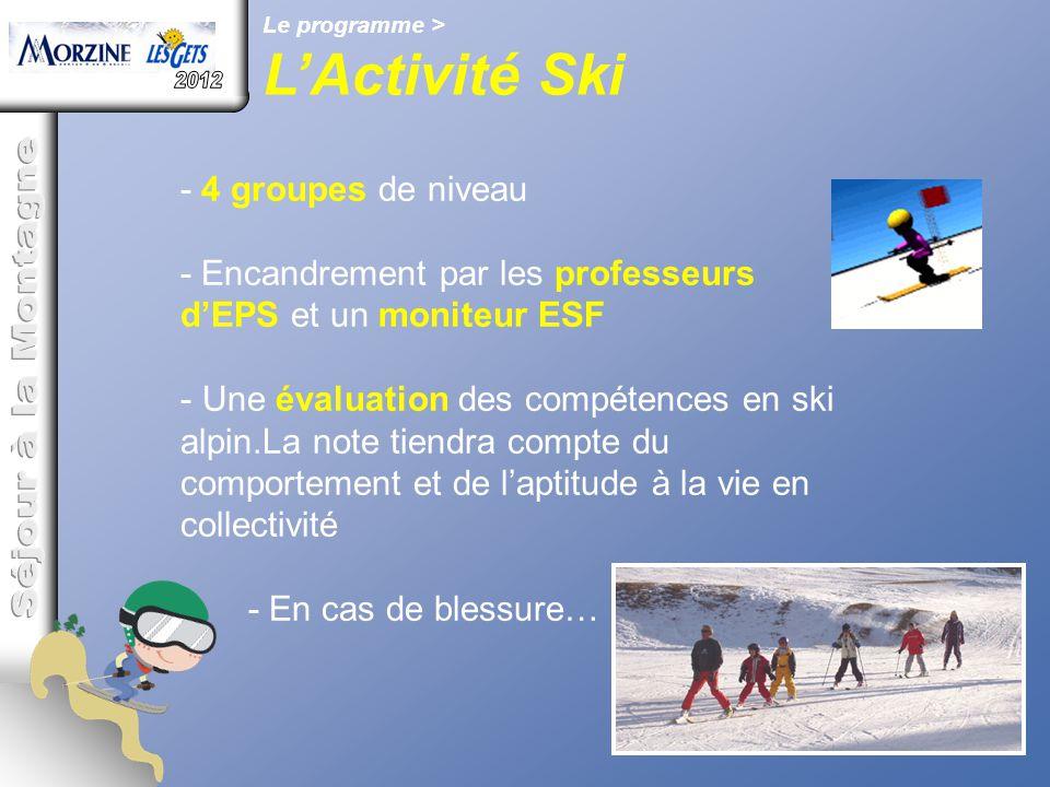 Le programme > L'Activité Ski - 4 groupes de niveau - Encandrement par les professeurs d'EPS et un moniteur ESF - Une évaluation des compétences en sk