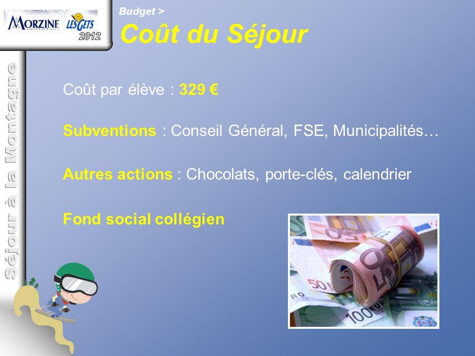 Budget > Coût du Séjour Coût par élève : 329 € Subventions : Conseil Général, FSE, Municipalités… Autres actions : Chocolats, porte-clés, calendrier F