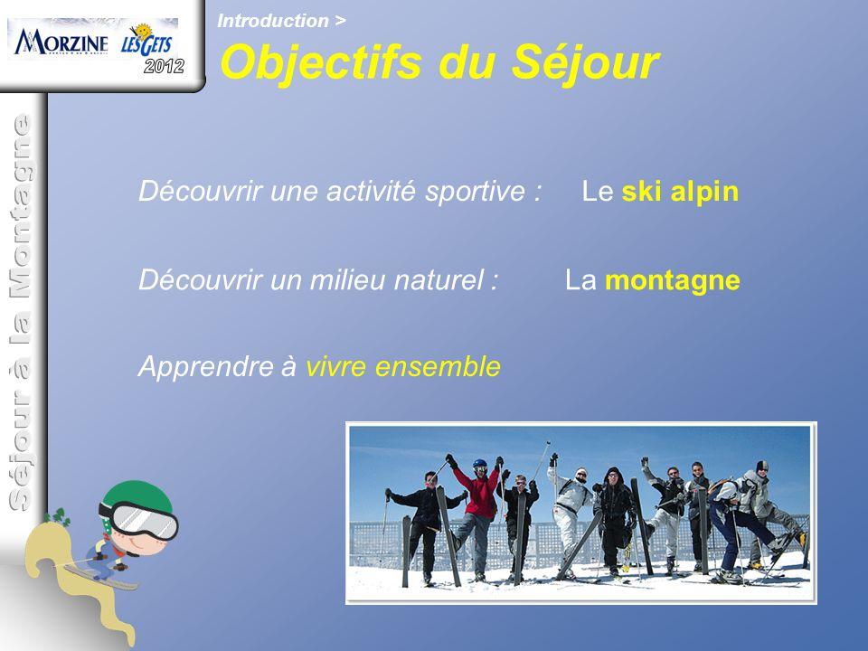 Découvrir une activité sportive : Le ski alpin Découvrir un milieu naturel :La montagne Apprendre à vivre ensemble Introduction > Objectifs du Séjour