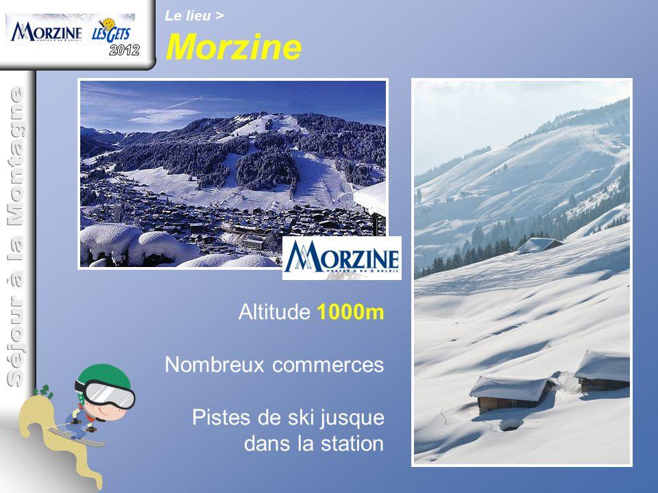 Le lieu > Morzine Altitude 1000m Nombreux commerces Pistes de ski jusque dans la station