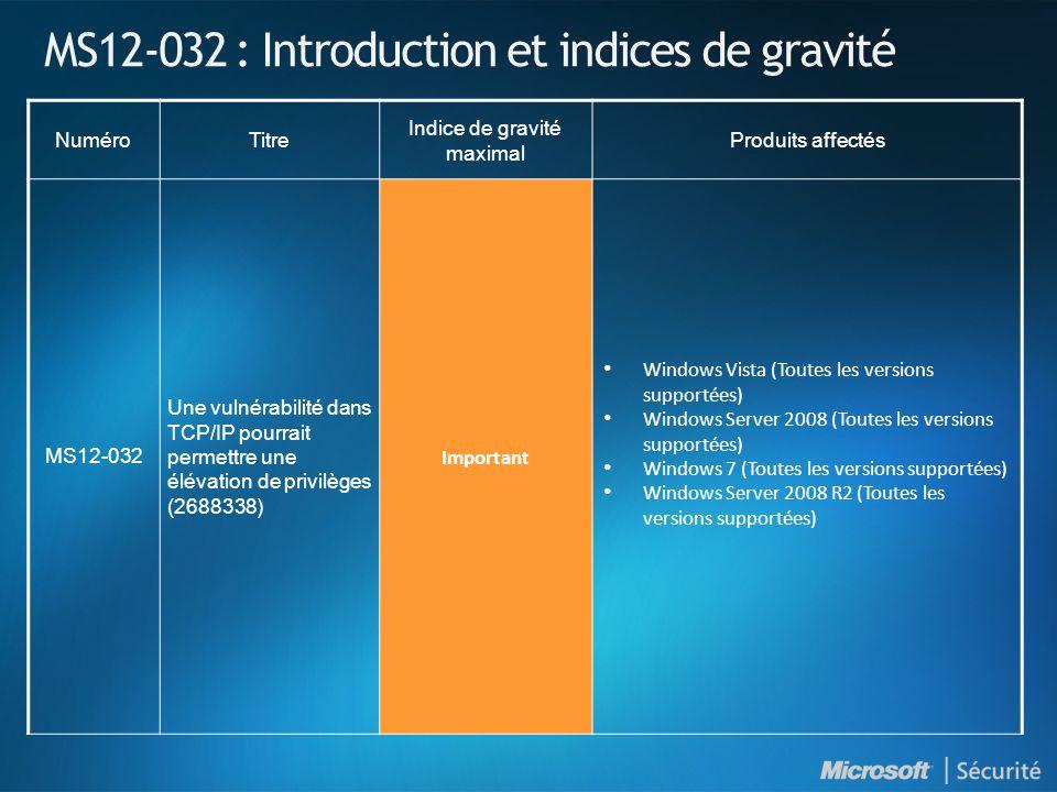 MS12-032 : Introduction et indices de gravité NuméroTitre Indice de gravité maximal Produits affectés MS12-032 Une vulnérabilité dans TCP/IP pourrait