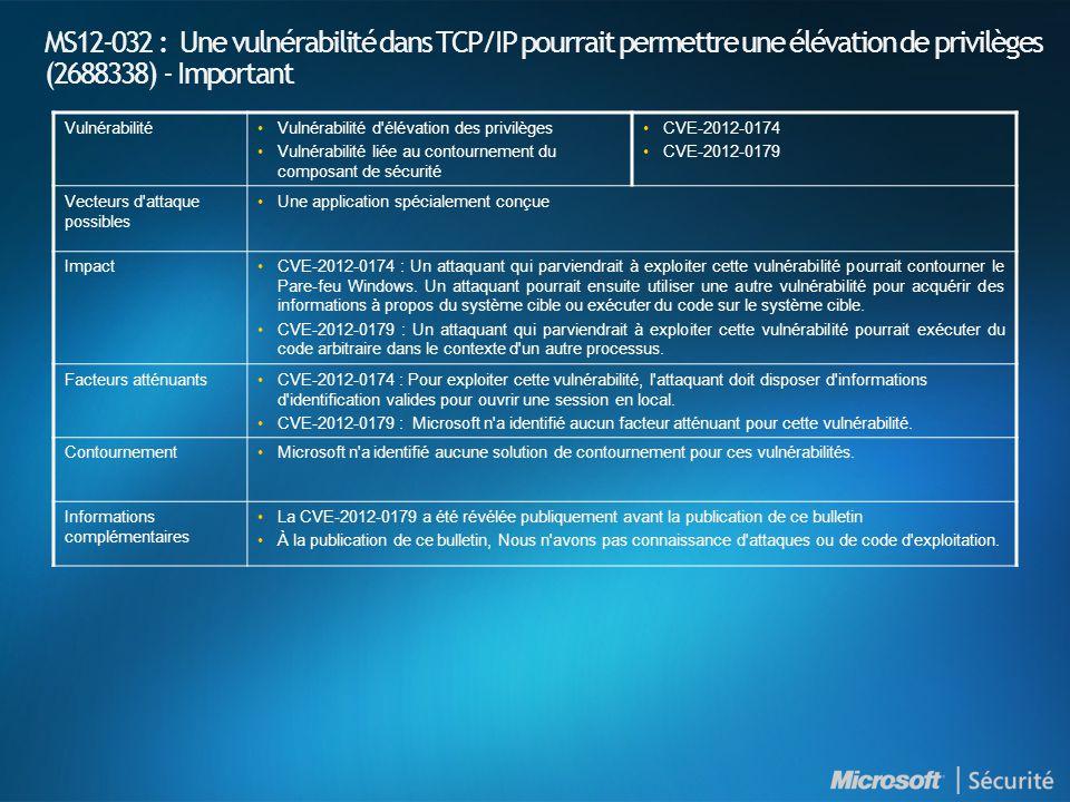 MS12-032 : Une vulnérabilité dans TCP/IP pourrait permettre une élévation de privilèges (2688338) - Important VulnérabilitéVulnérabilité d'élévation d