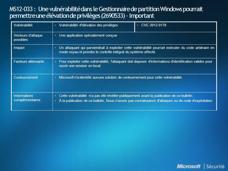 MS12-033 : Une vulnérabilité dans le Gestionnaire de partition Windows pourrait permettre une élévation de privilèges (2690533) - Important Vulnérabil