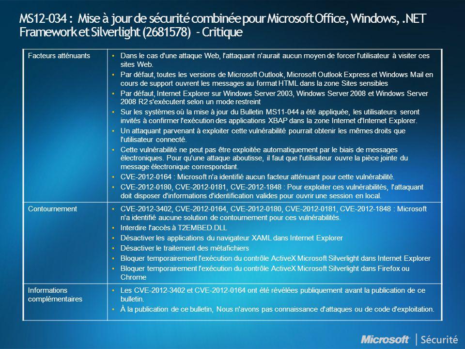 MS12-034 : Mise à jour de sécurité combinée pour Microsoft Office, Windows,.NET Framework et Silverlight (2681578) - Critique Facteurs atténuantsDans