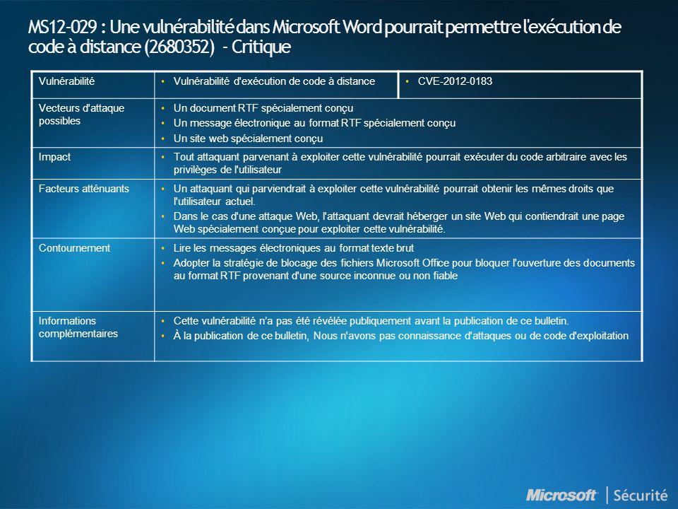 MS12-029 : Une vulnérabilité dans Microsoft Word pourrait permettre l'exécution de code à distance (2680352) - Critique VulnérabilitéVulnérabilité d'e