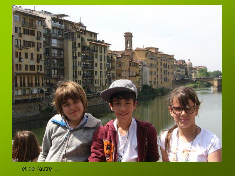 Colette fait la visite avec Carla, Matthias et Josué…milieu du pont d'un côté
