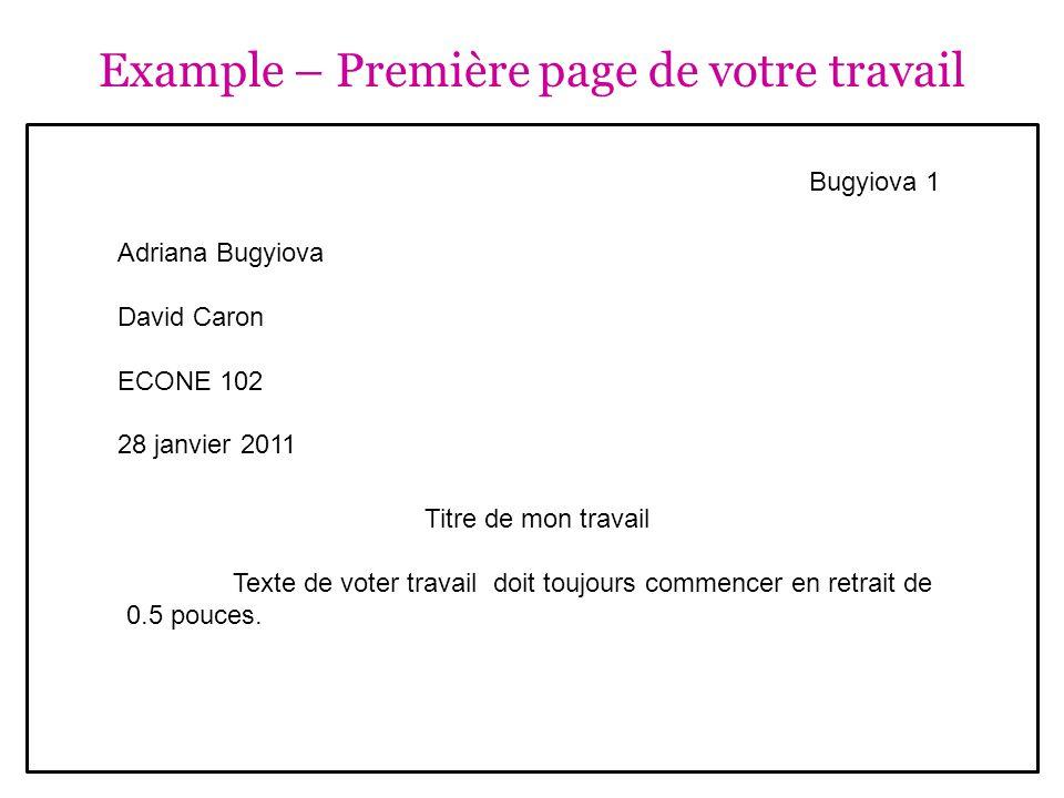 Documentation : Notes de cours - example Notes disponibles en ligne (PDF, PowerPoint, Moodle) : Nom du professeur.