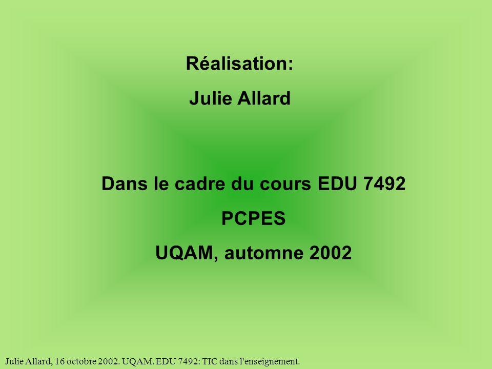 Julie Allard, 16 octobre 2002.UQAM. EDU 7492: TIC dans l enseignement.