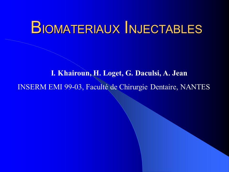 B IOMATERIAUX I NJECTABLES I. Khairoun, H. Loget, G. Daculsi, A. Jean INSERM EMI 99-03, Faculté de Chirurgie Dentaire, NANTES